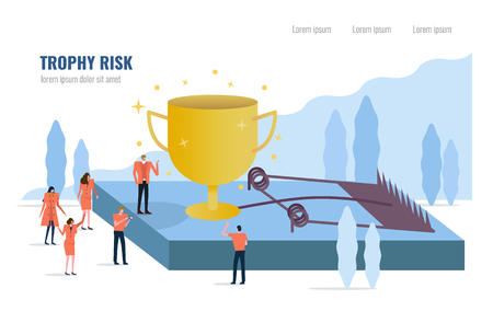 People stand around Golden trophy on a mouse trap. Business risk concept. Flat design element. vector illustration