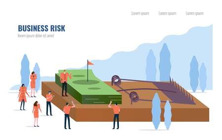 People stand around money on a mouse trap. Business risk concept. Flat design element. vector illustration