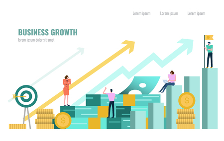 People investor and office worker secretary standing on stack of money. Business successful concept. Flat design element. vector illustration