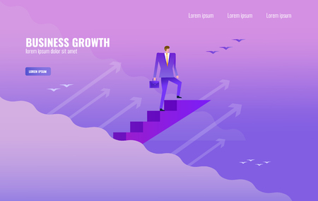 Businessman climbing up challenging career ladder and success. vector illustration