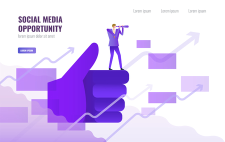Businessman standing and using telescope on Big thump up hand. Social media opportunity and marketing concept. vector illustration Illustration
