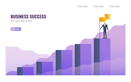 Businessman holding flag on the top of graph. Business Successful and  Leadership  concept. vector illustration