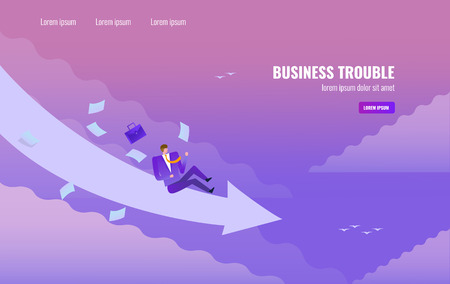 Businessman slide down from arrow on the sky. Business trouble concept. flat design vector illustration
