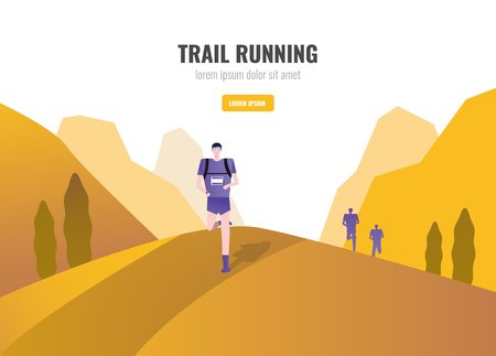 Trail Runners running on the mountain. beautiful scenery Background. vector illustration