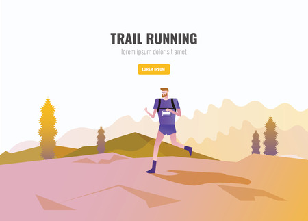 Trail Runner of men running on the mountain. beautiful scenery Background. vector illustration Vetores