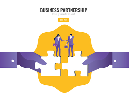 Two people handshake on connecting puzzle elements. Business partnership concept. vector illustration