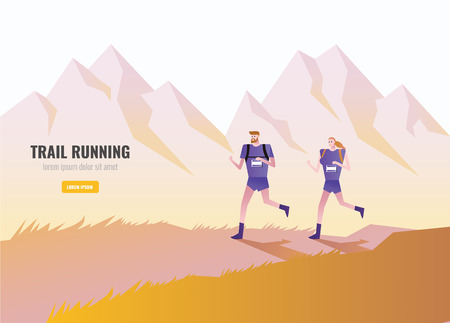 Trail Runner of men and women running on the mountain. beautiful scenery Background. vector illustration