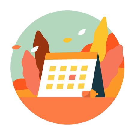 Autumn scenery with Autumn activity calendar. flat icon design. illustration vector