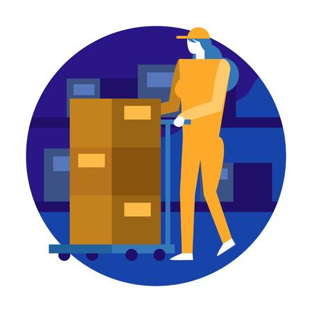 Travailleuse organisant l'inventaire et le stock dans l'entrepôt. éléments de design plat illustration vectorielle