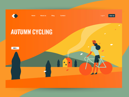 woman riding bike in autumn countryside landscape. Website landing page. flat design vector illustration Stock Illustratie