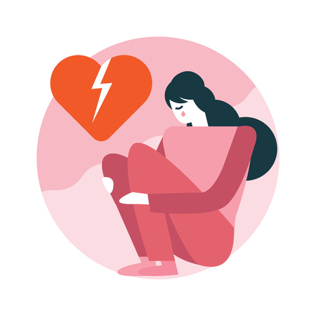 Woman broken heart sitting in room. Happy valentine's day. flat icons design. vector illustration Illustration