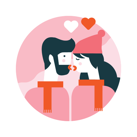 Man and woman kissing.Happy valentines day. flat icons design. vector illustration