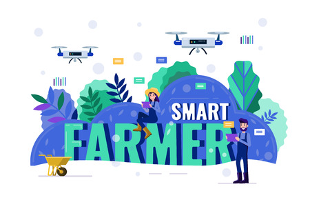 Smart farmer navigating drone above farmland. Modern agriculture concept. Flat design elements. Vector illustration