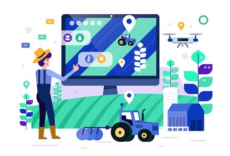 Schermo del computer touch agricoltore intelligente per monitorare e controllare la fattoria intelligente. futuro concetto di agricoltura. Elementi di design piatto. Illustrazione vettoriale