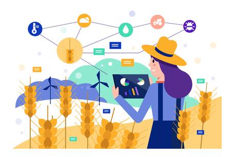Agriculteur intelligent utilisant une tablette pour surveiller le champ de riz d'orge. Concept d'agriculture moderne. Éléments de design plat. Illustration vectorielle Vecteurs