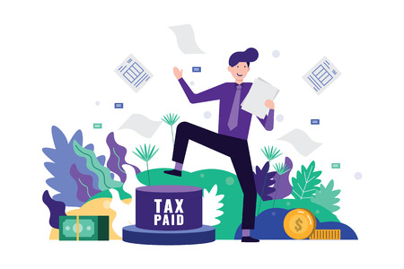 Happy business man pedal button to paid tax and clear tax documents. Tax time concept. Flat design element. Vector illustration.