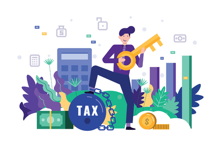 Happy business man holding a key, unlock his text burden. Tax time concept. Flat design element. Vector illustration.