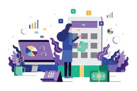 Geschäftsfrauenanalyse und berechnen Steuerfinanzen auf Rechnermaschine Computer-Desktop im Hintergrund. Flaches Gestaltungselement. Vektor-Illustration.