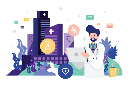 Doctor holding tablet with data graphics. Technology Innovation and medicine concept. flat design vector illustration