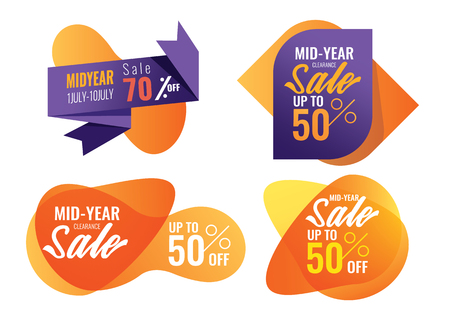 special offers and promotion banner. Mid Year Sale, Summer Sale. Promotion template design usable for print or web, banner and poster Illustration