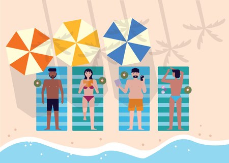 Top view of people at beach or seashore relaxing and sunbathing. summer vacation concept. flat character design. vector illustration.