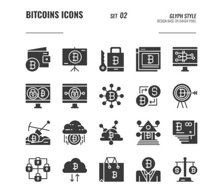 Bitcoin and cryptocurrency icons set 2, digital currency, online banking, blockchain security and more concept, Glyph icons Design. vector