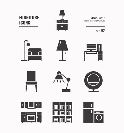 Furniture icons set 2, Lamp, sofa, computer desktop, work table, book shelf, kitchen and more, Glyph icons Design. vector
