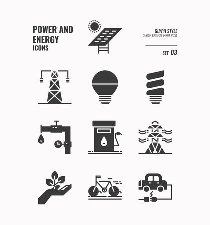 Power and energy icon set 3, Solar Cell, light bulb, pipe, oil, electric tower, bike, electric car and more, Glyph icons Design. vector 向量圖像