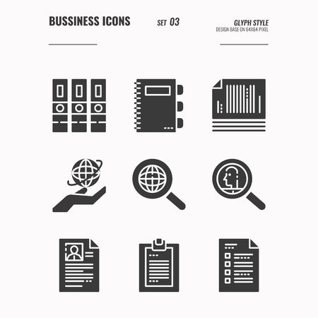 Business and financial icons set 3, Big data, global data, document, folder and more concept, Glyph icons Design. vector