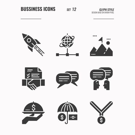 Business and financial icons set 12, rocket, start up, business goal, communication, financial security and more concept, Glyph icons Design. vector