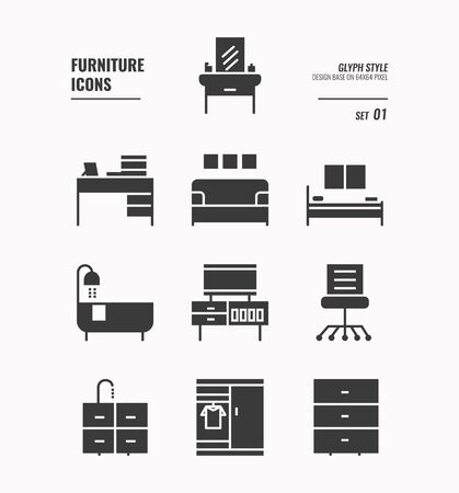 Furniture icons set 1, Office chair, bed, bath tube, cabinet, sofa bed and more, Glyph icons Design. vector 向量圖像