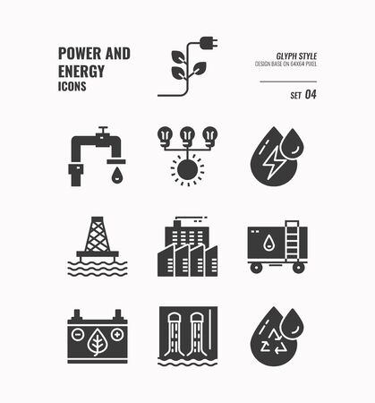Power and energy icon set 4, Factory Plug, pollution, environment, fuel and more, Glyph icons Design. vector