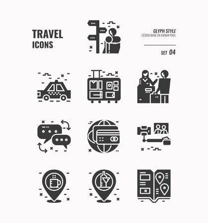 Travel icon, Backpacker, baggage, people communication, credit card, location and more. Glyph icons Design. vector 向量圖像