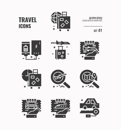 Travel icon set, Baggage, ticket, transportation, flight, airplane and more, Glyph icons Design. vector 向量圖像
