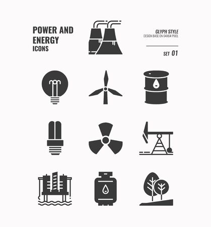 Power and energy icon set 1, Nuclear power, fuel rig, light bulb, industry and more, Glyph icons Design. vector Stock Illustratie