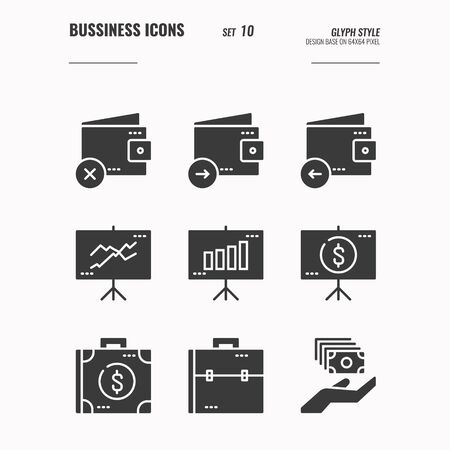 Business and financial icons set 10, wallet, money, presentation, meeting, currency and more concept, Glyph icons Design. vector