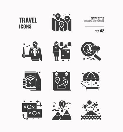 Travel icon, Map, weather, wifi, landscape, money exchange and more, Glyph icons Design. vector