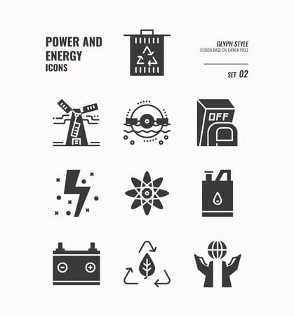 Power and energy icon set 2, Trash, recycle, atom, water power, save world, reuse and more, Glyph icons Design. vector