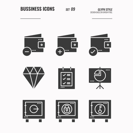 Business and financial icons set 9, wallet, safe box, financial protection, diamond, document, money security and more concept, Glyph icons Design. vector 向量圖像