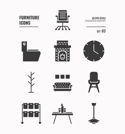 Furniture icons set 3, Wall lamp, sofa, flush toilet , dinner table, wall clock and more, Glyph icons Design. vector