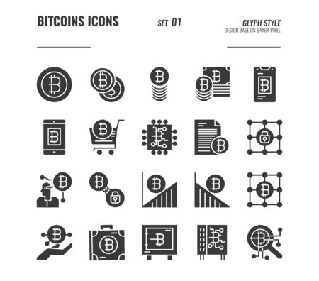 Bitcoin and cryptocurrency icons set 1, digital currency, online shopping, blockchain security and more concept, Glyph icons Design. vector Illustration