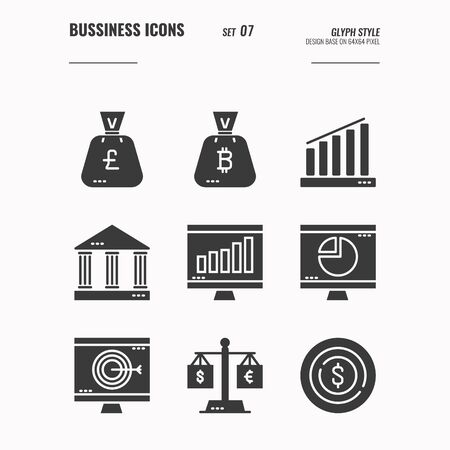 Business and financial icons set 7, money bag, banking, computer, report, Business goal and more concept, Glyph icons Design. vector