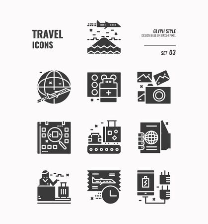 Travel icon set, Airplane, Passport, counter service, ticket and more, Glyph icons Design. vector