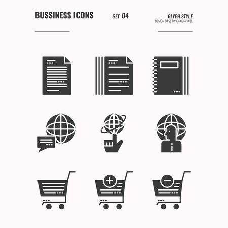 Business and financial icons set 4, Global communication, shopping, document and more, Glyph icons Design. vector