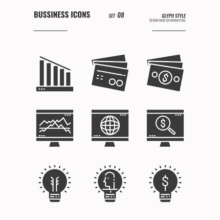 Business and financial icons set 8, money, light bulb, ideas light bulb, computer screen, big data and more concept, Glyph icons Design. vector