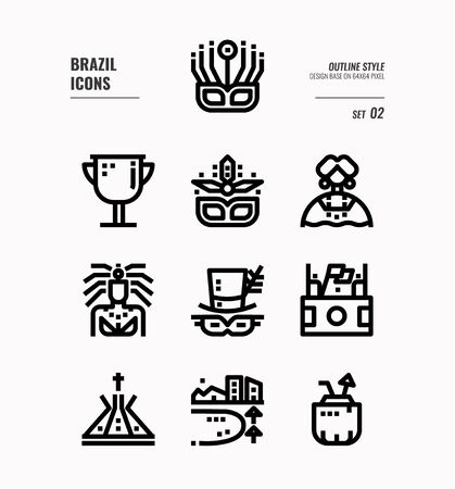 Brazil line icon set 2. Include carnival, mask, football, Brazil landmark and more. Outline icons Design. vector