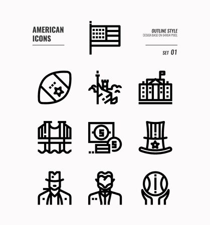 American line icon set 1. Include USA flag, rugby ball, freedom monument and more. Outline icons Design. vector