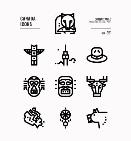 Canada line icon set 3. Include Canada map, aboriginal, bear and more. Outline icons Design. vector 向量圖像