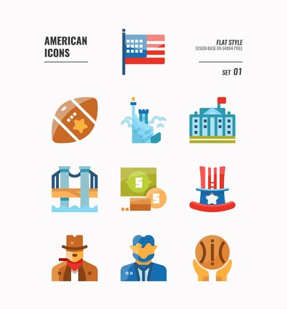 American icon set 1. Include USA flag, rugby ball, freedom monument and more. Flat icons Design. vector