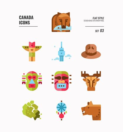 Canada icon set 3. Include Canada map, aboriginal, bear and more. Flat icons Design. vector